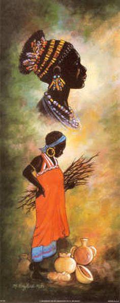 African Women I: Kathleen English-Pitts. African American Art, African Women, Black Women Art, Black Art, Afrique Art, African Quilts, African Paintings, African Theme, Art Africain