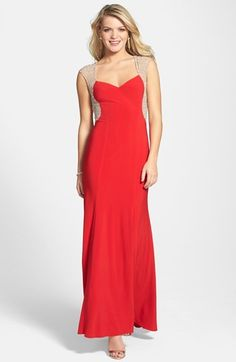 $228, Red Evening Dress: Xscape Evenings Xscape Beaded Jersey Gown. Sold by Nordstrom. Click for more info: http://lookastic.com/women/shop_items/144292/redirect