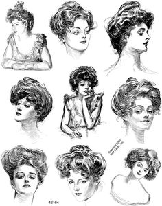 Gibson Girl illustration for hair ideas Historical Hairstyles, Edwardian Hairstyles, Vintage Hairstyles, Girl Hairstyles, Knot Hairstyles, 1800s Hairstyles, Gibson Girl Hair, Charles Dana Gibson, Belle Epoque