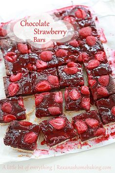 Chocolate fudge roasted strawberry cookie bars - shortbread cookie topped with rich chocolate fudge, tangy strawberry jam and tart roasted s...