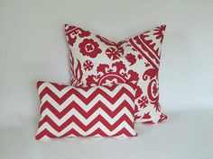 Red White Chevron Pillow Cover / 10 x 16 lumbar / by ShopJanery, $19.75