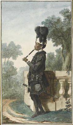 Portrait de Narcisse, serviteur du duc d'Orléans, en pied, de profil, faisant de la flûte, portant une épée, un sac et des plumes, sur une terrasse, vers 1770 Louis Carrogis dit Carmontelle