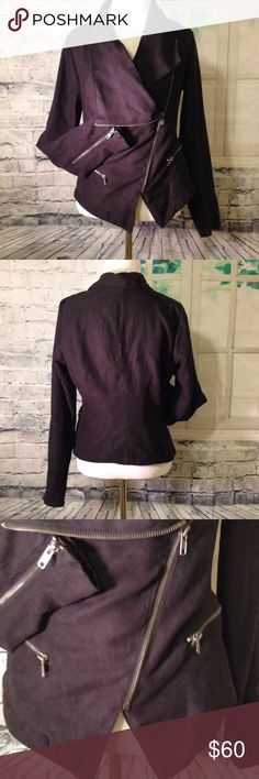 Black moto jacket Black moto jacket. Asymmetrical with zippers. In excellent condition. Rampage Jackets & Coats Blazers
