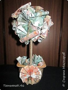 Дерево своими руками из бумажных денег пошагово