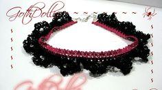 Goth Ribbon  Black Power Pink Choker Lace Crochet by GothDollie, $17.99