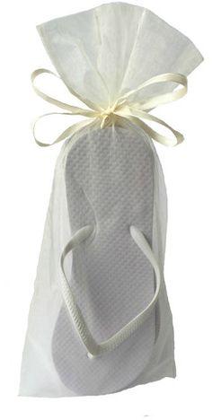 Wedding Guests Bulk White Flip Flop Ivory Organza
