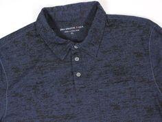 John Varvatos USA XL Men's Polo Shirt Black Navy Black Lightweight Rugby #JohnVarvatos #PoloRugby