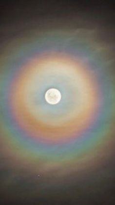 These colorful rings of a lunar corona appear when we see the moon through a very thin cloud of similar sized water droplets.