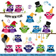 New Years Owls Clipart Clip Art, New Years Eve Party Owls Clip Art Clipart - Commercial and Personal. $6.00, via Etsy.