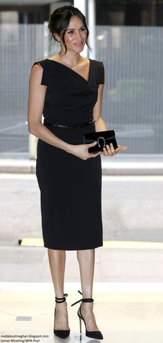 Mad About Meghan: UPDATED: Elegant Meghan in LBD for CHOGM Women's Empowerment Reception!