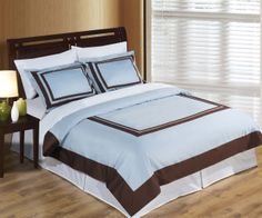 With Love Home Decor - RT™ Wrinkle Free Egyptian cotton Hotel Blue / Chocolate Duvet cover set, $99.99 click www.withlovehomedecor.com/products/rt-wrinkle-free-egyptian-cotton-hotel-blue-chocolate-duvet-cover-set.html for complete details.