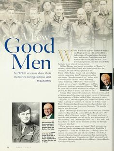 "Ohio Today, Winter ""A Few Good Men: Six WWII veterans share their memories during campus visit"" :: Ohio University Archives Veterans Memorial Day, Global Conflict, Military Photos, Photo Projects, Human Nature, History Books, A Good Man, Wwii, Students"