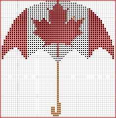 freebie ~ Canadian Umbrella cross stitch pattern Cross Stitch Quotes, Cross Stitch Cards, Cross Stitching, Cross Stitch Embroidery, Cross Stitch Designs, Cross Stitch Patterns, Crochet Patterns, Modele Pixel Art, Swedish Weaving