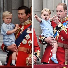 Prince Charles holds 2-year old Prince William and Prince William holds his son, 2-year old Prince George. Both photos were taken on the balcony of Buckingham Palace at Trooping the Colour in 1984 and 2015. Prince George was wearing the same outfit that his Dad had worn 31 years before.