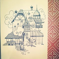 #inktober #05 by tjasa malalan #bear #bearillustration #enchantedhouse #magicalhouse #victorianhouse