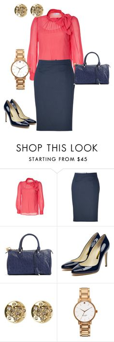 """""""Navy Pencil"""" by lisa-eurica ❤ liked on Polyvore featuring RED Valentino, Paul Smith, Brooks Brothers, Rupert Sanderson, Karen Millen and Kate Spade"""
