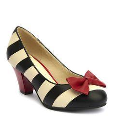 Lola Ramona Black & Cream Stripe Elsie Pump | zulily