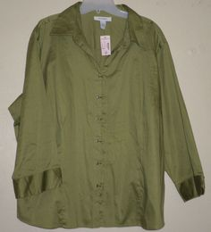 #ThePlusSide #PlusSize Dressbarn NWT plus size hook button down green blouse 3x 22/24