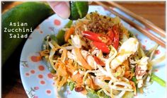 Asian Zucchini Chicken Salad – served cold http://budgetpantry.com/asian-zucchini-chicken-salad/