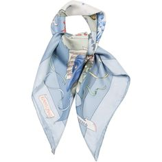 Pre-owned Herm?s Le Carnaval De Venise Silk Jacquard Scarf (3.321.955 IDR) ❤ liked on Polyvore featuring accessories, scarves, blue, silk shawl, pure silk scarves, white silk shawl, colorful shawls and colorful scarves