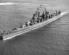 Canberra underway, Boston harbor, Massachusetts, United States, 14 Oct 1943, Source United States Navy Naval History and Heritage Command Identification Code NH 98383