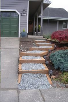 New steps through the landscape. Easier than walking up the steep driveway. Lighting helps too.