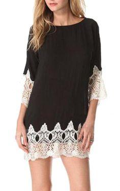 Lucky lady Women's Black White Stitching 3/4 Sleeve Lace Tunic Dress Large