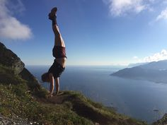 Handstand - if you need to get even more adrenaline. Hiking the Summit of Mount Skottind (671 m) in Ballstad, Lofoten from Hattvika Lodge #HattvikaLodge
