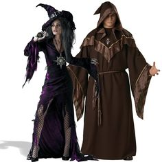 Witch Couple Costumes / Scary Sorcerer and Sorceress Halloween Costume, Group Halloween Costumes, Couples Halloween Costumes and Family Halloween Costumes Wizard Costume, Pair Halloween Costumes, Scary Couples Costumes, Halloween Party Kostüm, Halloween Ideas, Halloween 2019, Voodoo Halloween, Halloween Customs, Couple Costumes