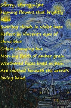 "Don McLean - Vincent - 1971  Album = American Pie  Song  Lyrics  Painting: ""Starry Night""-Vincent Van Gogh"