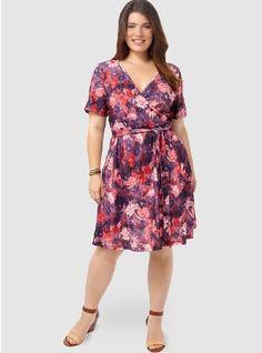 Crimson Floral Printed wrap dress. Gwynniebee.com