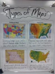 types of maps anchor chart for students to refer to. Helpful for our day 2 unit on maps of Texas and how to read/create a map. RAR
