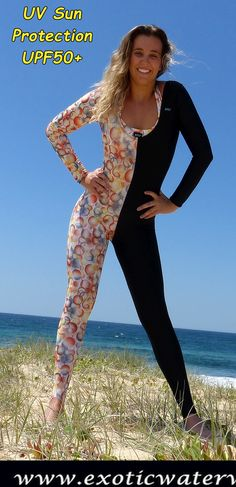 Our fashionable innovative stinger suits and matching bikinis are sunprotection in exotic bold patterns. Swimsuits, Bikinis, Swimwear, Snorkelling, Dress And Heels, Sun Protection, Catsuit, Leotards, Surfing