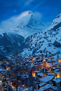 Twilight over Zermatt with the Matterhorn beyond, Switzerland. I loved Zermatt! Zermatt, Places Around The World, Oh The Places You'll Go, Places To Travel, Places To Visit, Dream Vacations, Vacation Spots, Glacier Express, Winter Scenes