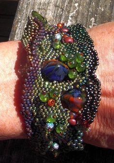 Woodland Stroll Peyote Stitch Seedbead Bracelet by MiyaBeads