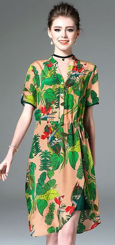Fashion V-Neck Short Floral Print Silk Dress