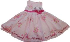 Polly Flinders floral My First Birthday embroidery personalized dress