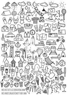 Bullet Journal Printables, Bullet Journal Layout, Bullet Journal Ideas Pages, Bullet Journal Inspiration, Bullet Journals, Bullet Journal For Kids, Doodle Drawings, Easy Drawings, Summer Drawings