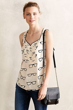 Amory Tank - anthropologie.com Love the eyeglasses print and cut of this shirt. Tried it on and it's easy to wear both casually and for work