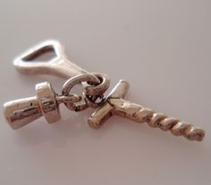 Silver Cork Screw, Bottle Opener and Cork Charm by TrueVintageCharms on Etsy