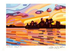 art painting landscape abstract fall sunset lake orange