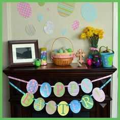 Happy Easter Egg Banner {Easter Craft} - Mom On Timeout