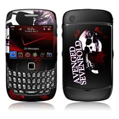 Avenged Sevenfold: Skullicide - BlackBerry Curve 8520/8530 Skin ❤ liked on Polyvore featuring phones, electronics, accessories, avenged sevenfold and cell phones
