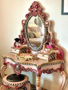 Antique, Hand Carved Vanity Funky Painted Furniture, Painted Chairs, Refurbished Furniture, Paint Furniture, Upcycled Furniture, Shabby Chic Furniture, Furniture Projects, Furniture Makeover, Cool Furniture