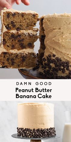 Damn good grain free peanut butter banana cake filled with mini chocolate chips and topped with a luscious fluffy peanut butter frosting. This incredible gluten free peanut butter banana cake recipe i Best Peanut Butter, Peanut Butter Frosting, Peanut Butter Banana, Gluten Free Peanut Butter, Frosting For Banana Cake, Desserts With Peanut Butter, Desserts With Bananas, Easy Peanut Butter Cake, Peanut Butter Chocolate Cake