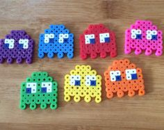 Items similar to Small Rainbow Pacman Ghosts Magnets on Etsy Perler Bead Ornaments Pattern, Easy Perler Bead Patterns, Melty Bead Patterns, Perler Bead Templates, Diy Perler Beads, Perler Bead Art, Beading Patterns, Perler Bead Designs, Hama Beads Design