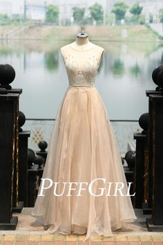 Nude Illusion Beaded Low Back Tulle Prom Dress