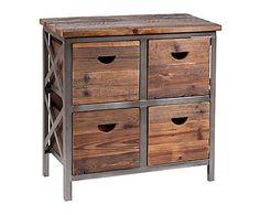 Cajonera con 4 cajones en hierro y madera Lui - marrón y gris