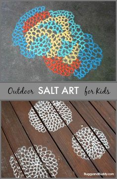 Fun outdoor activity for summer! Kids create their own art outside using colored salt! (Salt Art for Kids- BuggyandBuddy.com)