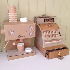 Cardboard Cappuccino Machine and Cash Register | https://instagram.com/zygote_brown/